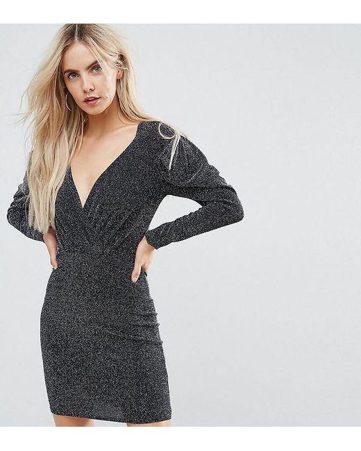 Boohoo - Black Wrap And Puff Sleeve 80's Mini Dress - Lyst