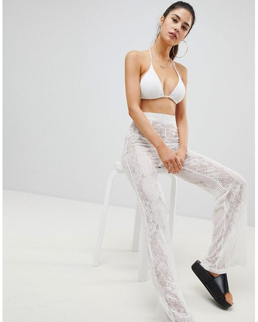 PRETTYLITTLETHING - White Lace Beach Trousers - Lyst