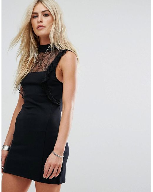 Free People | Black Beaumont Muse Lace Detail Dress | Lyst
