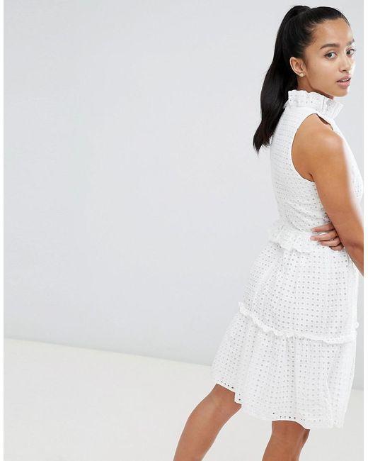 85562cf7d66 ... John Zack - White High Cutwork Lace Layered Skater Dress - Lyst