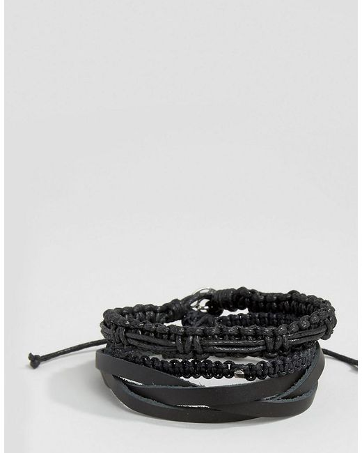 Icon Brand | Leather & Woven Bracelet Pack In Black for Men | Lyst