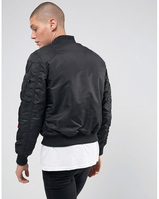 Alpha industries Ma-1 Vf Nasa Insulated Bomber Jacket In All Black ...