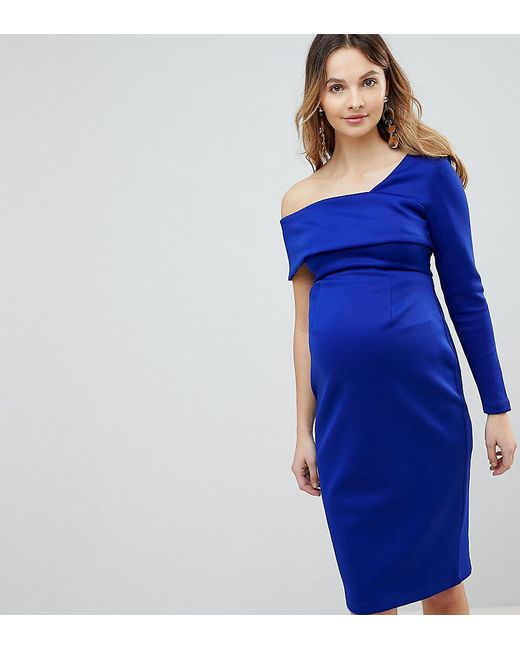 ASOS - Blue One Sleeve Fold Front Midi Bodycon Dress - Lyst
