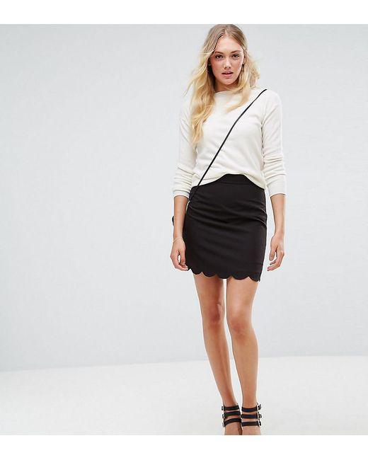 48f3f63fc4 ASOS - Black Asos Design Tall Tailored A-line Mini Skirt With Scallop Hem  ...