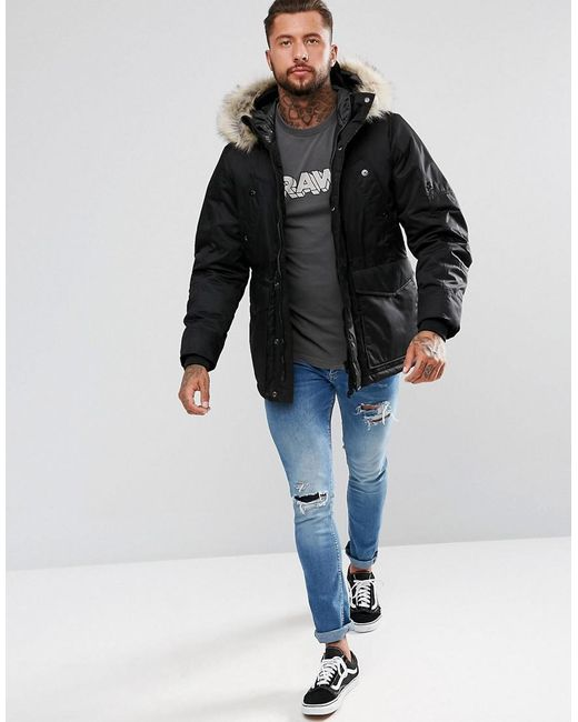 G-star raw Beraw Whistler Twill Fur Hooded Short Parka Jacket in ...