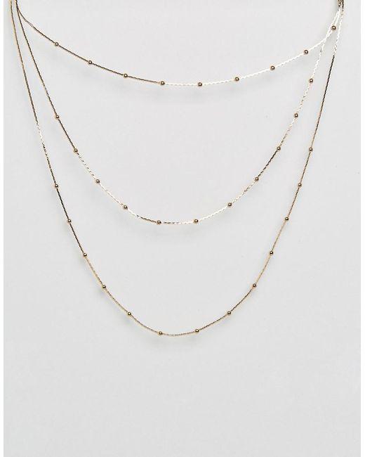 ASOS | Metallic Triple Row Necklace | Lyst