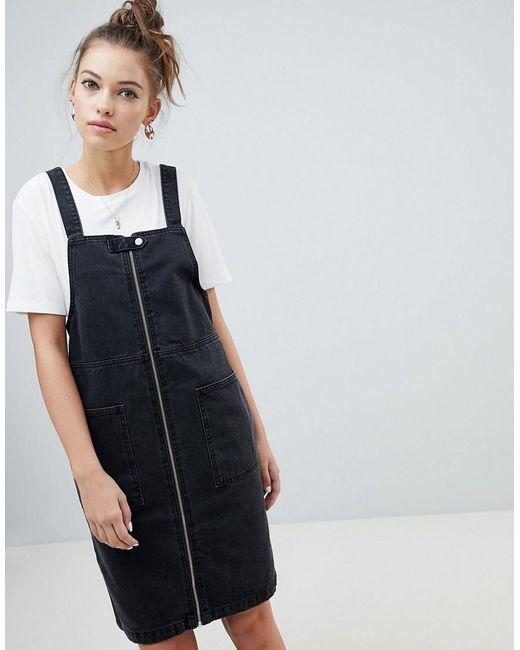 ONLY - Zip Through Denim Mini Dress In Black - Lyst