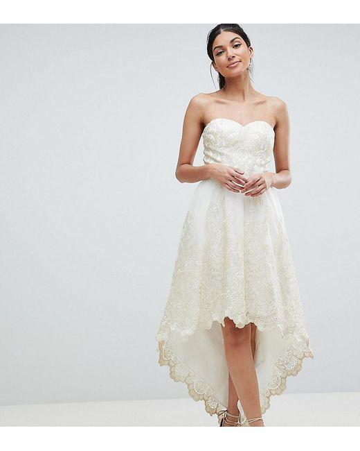 9c9a395da16 Chi Chi London - Natural Premium Lace Bardot Prom Dress With Extreme High  Low Hem ...