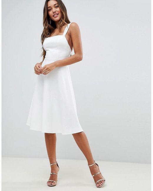 d7bfedf432e8 ASOS - White Asos Square Neck Midi Prom Dress - Lyst ...