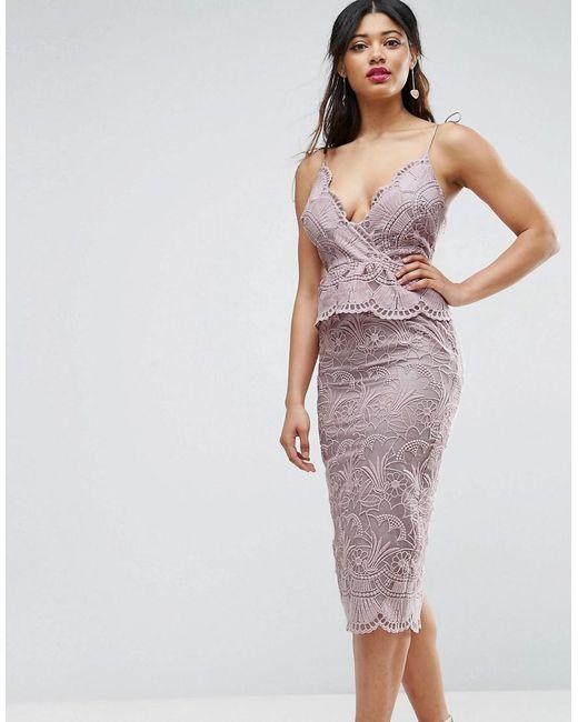 ASOS   Purple Salon Scallop Seashell Lace Pencil Midi Dress   Lyst