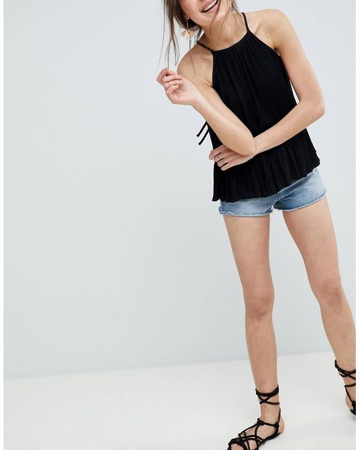 ASOS - Black Crinkle Trapeze Top - Lyst