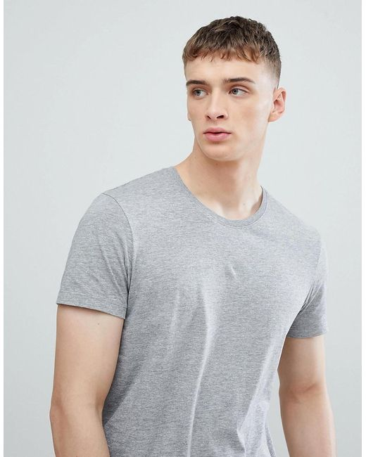 Esprit - Longline T-shirt In Gray With Crew Neck for Men - Lyst