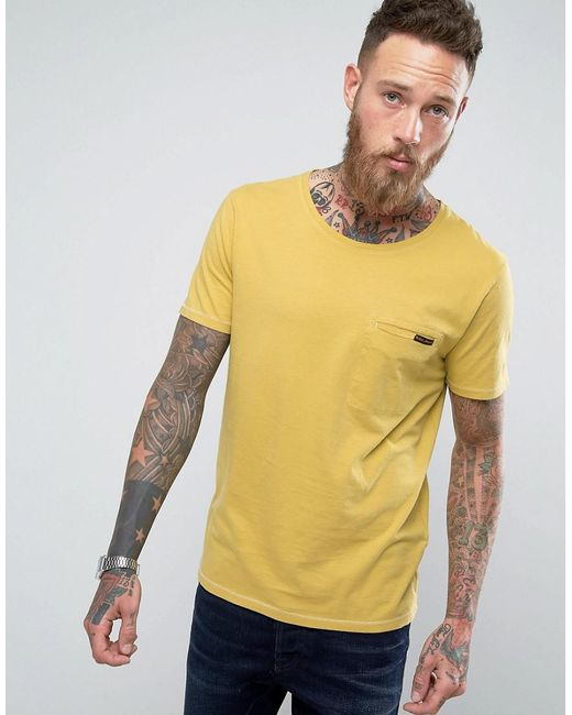 Nudie Jeans | Yellow Co Ove Pocket T-shirt for Men | Lyst