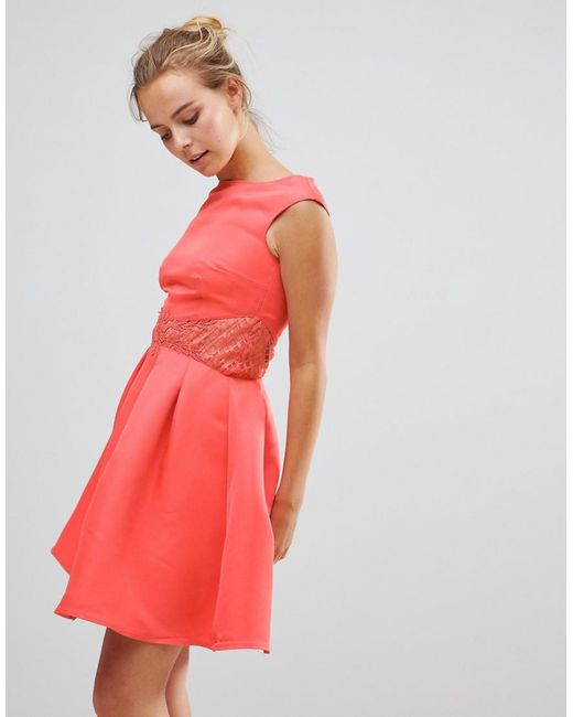 Little Mistress - Pink Little Mistess Fit & Flare Dress With Lace Waist - Lyst