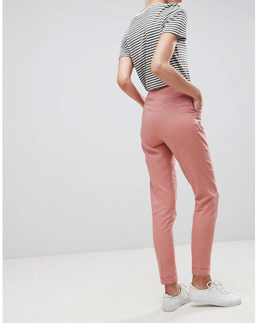 c1b5753c5eeb9 Pantalon cigarette en lin ASOS en coloris Rose - Lyst