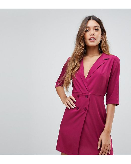 05f09513ab83 Boohoo - White Exclusive Button Detail Tux Dress In Plum - Lyst ...