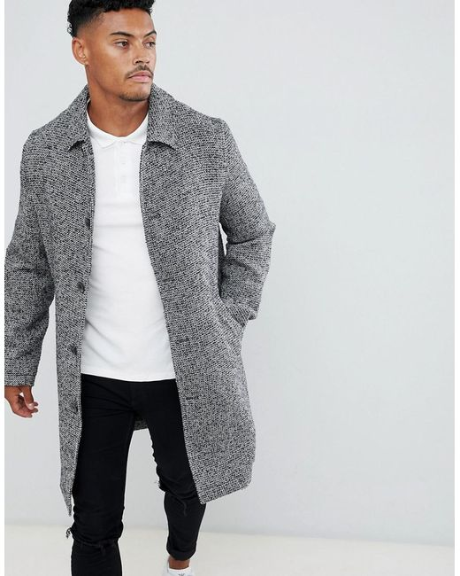 ASOS - Gray Wool Mix Overcoat In Black Texture for Men - Lyst