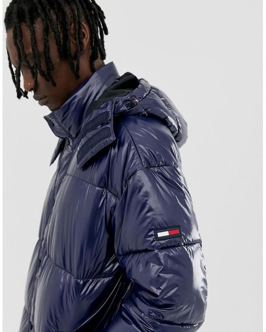 a061bc95 Tommy Hilfiger - Blue High Shine Puffer Jacket In Navy for Men - Lyst ...