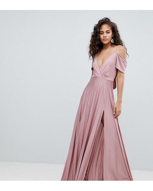 40f098e91d50 ASOS - Pink Asos Design Tall Cold Shoulder Cowl Back Pleated Maxi Dress -  Lyst ...
