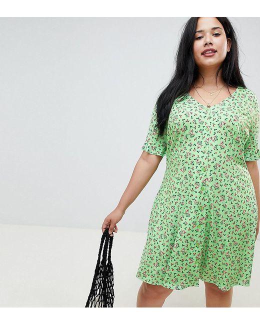4e19cfa0c8 ASOS - Green Asos Design Curve Button Through Tea Dress With Frill Sleeve  In Slinky Floral ...