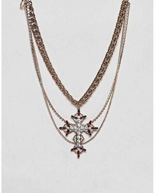ASOS - Metallic Statement Multirow Necklace With Vintage Cross Pendant - Lyst