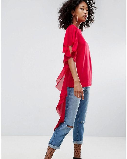 ASOS - Red Asos T-shirt With Dramatic Assymetric Woven Ruffle - Lyst