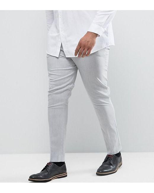 ASOS | Plus Super Skinny Pants In Pale Gray for Men | Lyst