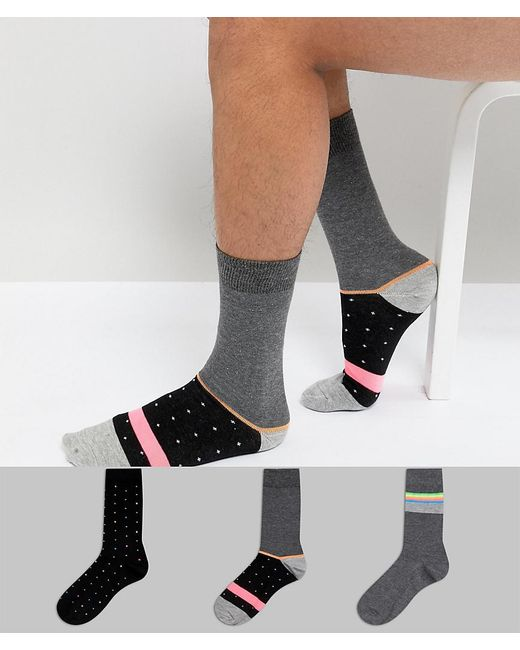 ASOS - Multicolor Socks With Neon Stripes & Dots 3 Pack for Men - Lyst