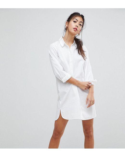 b5faddf20af ASOS - White Asos Design Petite Cotton Mini Shirt Dress - Lyst ...