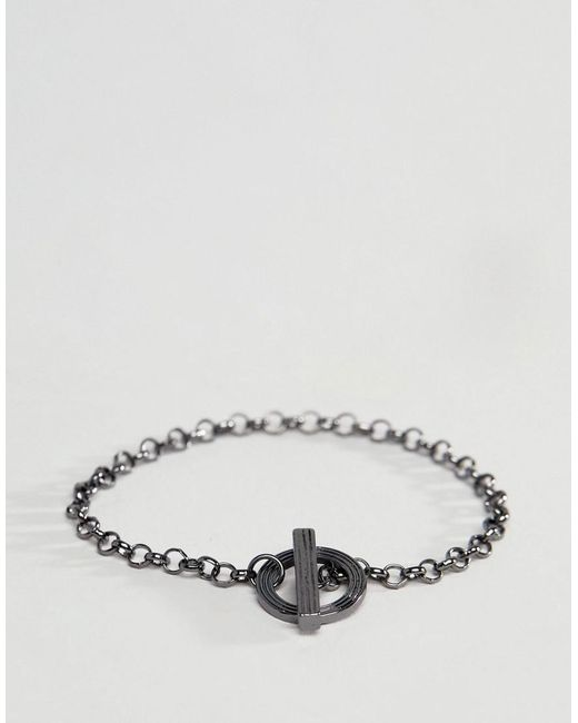 Icon Brand - Metallic Gunmetal Chain Bracelet for Men - Lyst