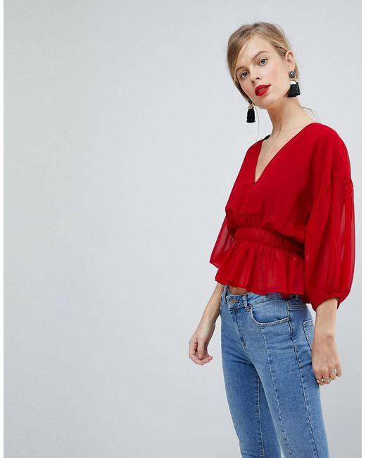 ASOS DESIGN - Red Sheer Waisted Poets Sleeve Blouse - Lyst