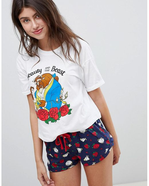 New Look - White Beauty And The Beast Pyjama Tee And Short Set - Lyst
