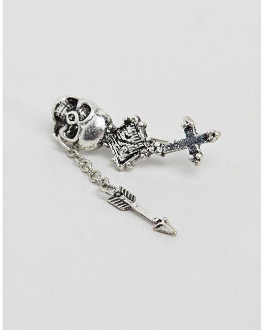 Inspired Drop Engraved Earrings () - Silver Reclaimed Vintage waOEa