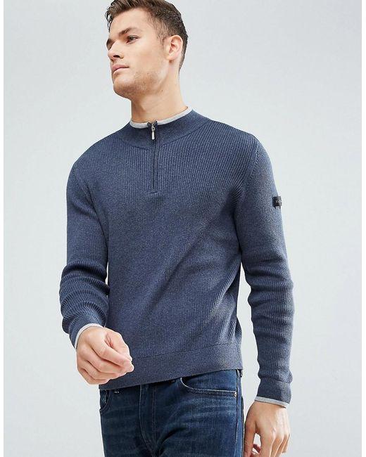 Ben Sherman - Blue Zipped High Neck Jumper for Men - Lyst