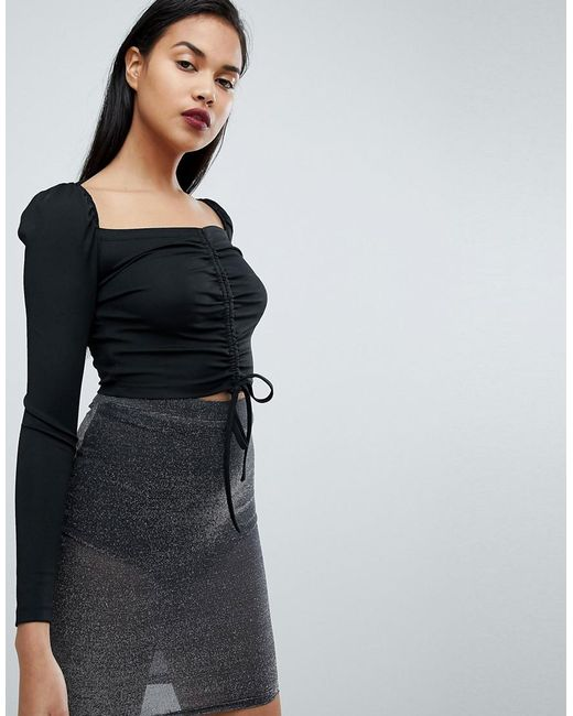 Fashion Union - Black Long Sleeve Crop Top With Ruched Ribbon Tie Front - Lyst