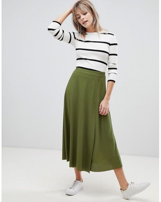 ecba088ba6 ASOS - Green Midi Wrap Skirt In Rib - Lyst ...