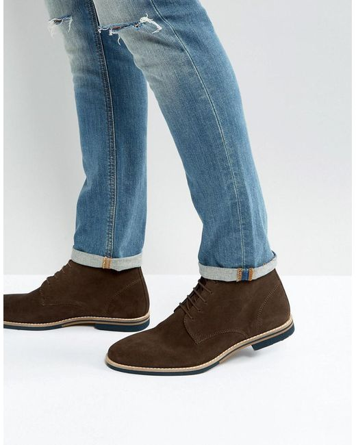 ASOS | Lace Up Boots In Brown Suede With Contrast Sole for Men | Lyst