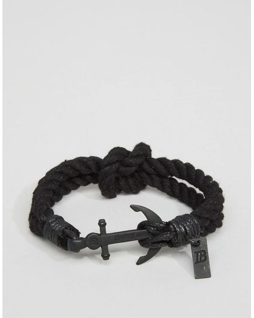 Icon Brand | Anchor Woven Bracelet In Black for Men | Lyst