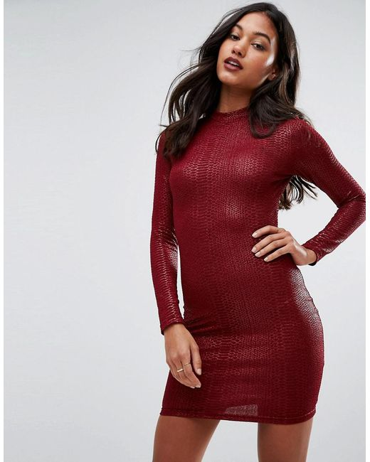 AX Paris | Red Animal Texture Long Sleeve Bodycon Dress | Lyst