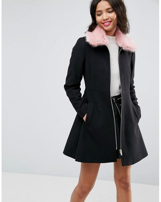 ASOS - Black Skater Coat With Pink Faux Fur Collar - Lyst