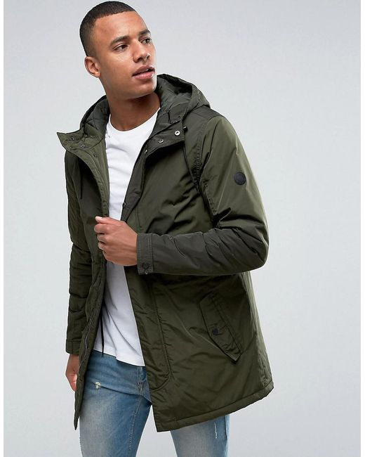 Solid Lightweight Hooded Parka in Green for Men | Lyst