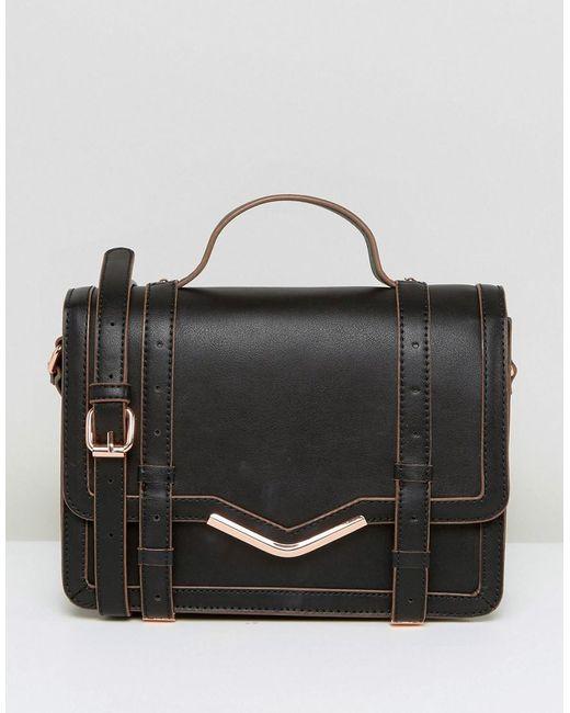 ASOS | Black V-bar Structured Satchel Bag | Lyst