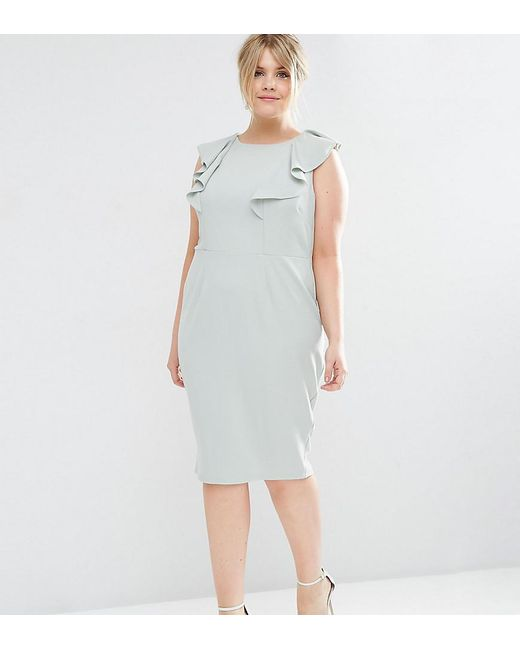 ASOS   Green Wiggle Dress With Ruffle   Lyst