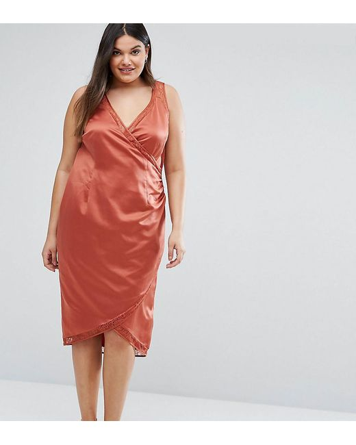 ASOS - Red Lace Insert Wrap Satin Dress - Lyst