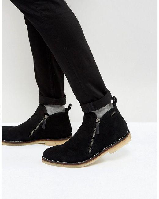 Kurt Geiger - Otis Suede Zip Boots In Black for Men - Lyst