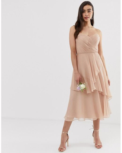 b4853645 ASOS - Pink Bridesmaid Bandeau Midi Dress With Soft Layered Skirt - Lyst ...