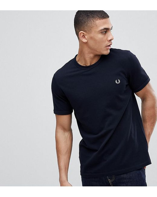 fb7c2a3e Fred Perry - Blue Pique Logo Crew Neck T-shirt In Navy Exclusive At Asos ...