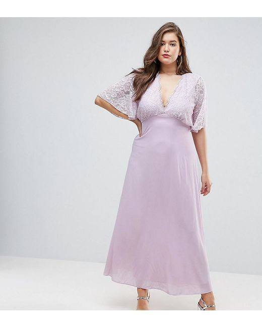 John Zack - Purple Open Back Maxi Dress With Fluted Lace Sleeve - Lyst