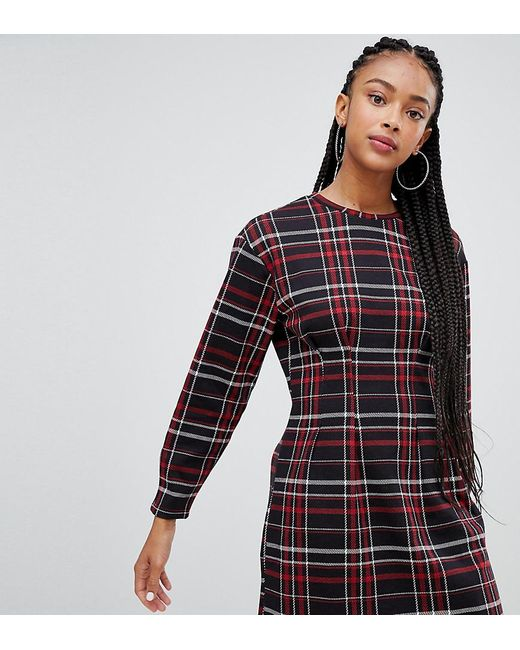 d9a1cfaa3c Bershka - Multicolor Waist Fitted Jersey Dress In Check - Lyst ...