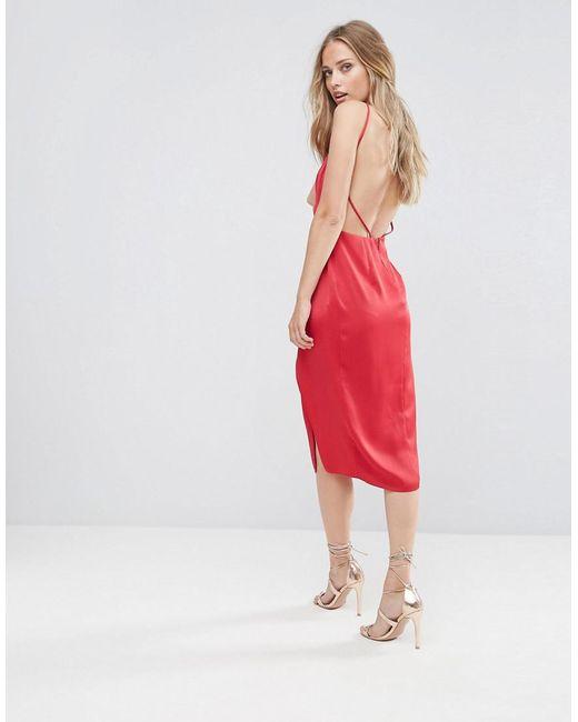 60f8cab7e09 ASOS - Red Asos Drape Back Delicate Backless Midi Dress - Lyst ...